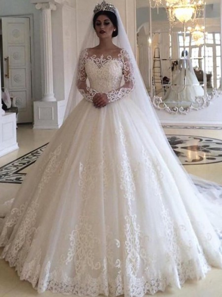 Ball Gown Off-the-Shoulder Sweep/Brush Train Applique Long Sleeves Tulle Wedding Dresses