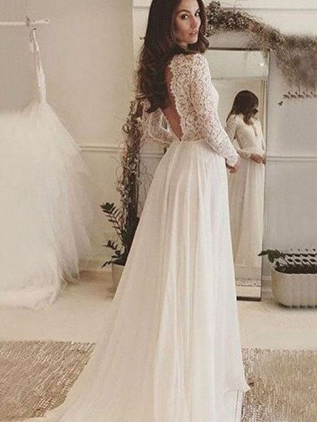 A-Line/Princess Scoop Sweep/Brush Train Long Sleeves Chiffon Wedding Dresses