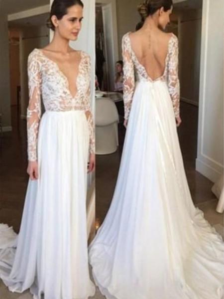 A-Line/Princess V-neck Sweep/Brush Train Long Sleeves Chiffon Wedding Dresses
