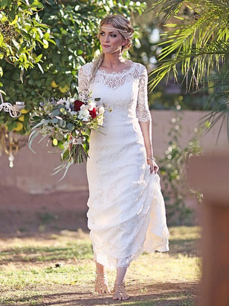 Sheath/Column Bateau Sweep/Brush Train 1/2 Sleeves Lace Wedding Dresses