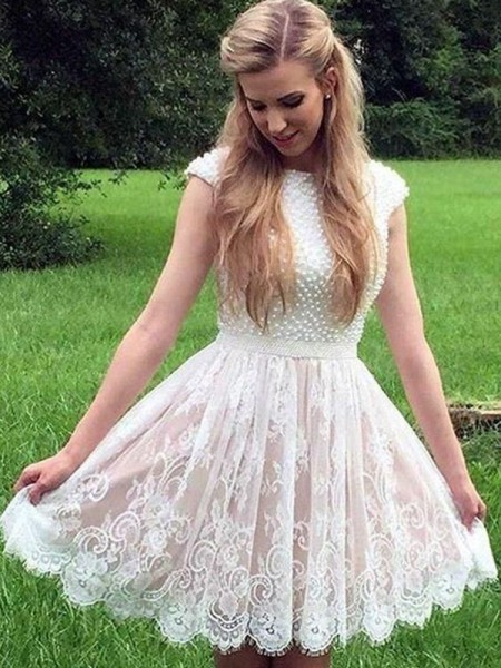 A-Line/Princess Sheer Neck Sleeveless Pearls Lace Short/Mini Dresses