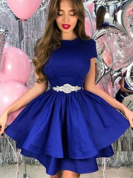 A-Line/Princess Sheer Neck Short Sleeves Sash/Ribbon/Belt Satin Short/Mini Dresses