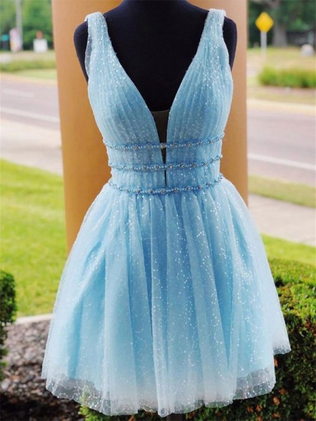 A-Line/Princess V-neck Sleeveless Beading Tulle Short/Mini Dresses