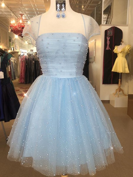 A-Line/Princess Strapless Short Sleeves Beading Tulle Short/Mini Dresses