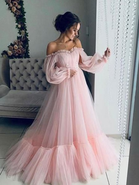 A-Line/Princess Floor-Length Off-the-Shoulder Long Sleeves Applique Tulle Dresses