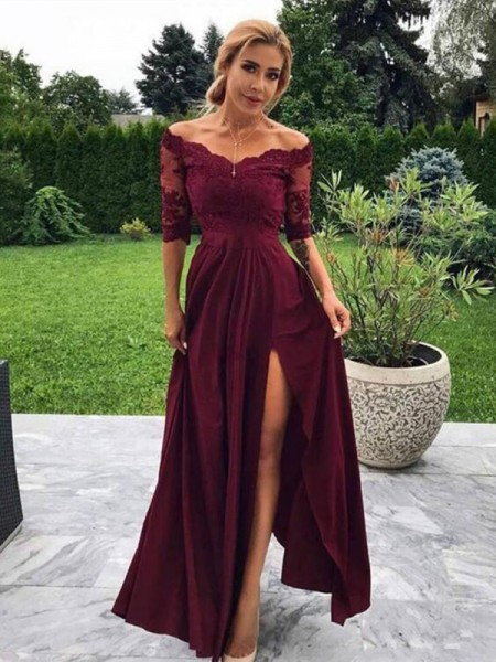 A-Line/Princess Floor-Length Off-the-Shoulder 1/2 Sleeves Applique Satin Dresses