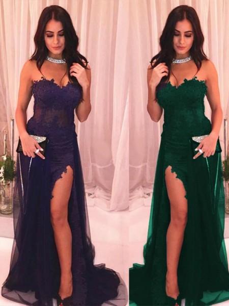 Trumpet/Mermaid Sweep/Brush Train Strapless Sleeveless Applique Tulle Dresses