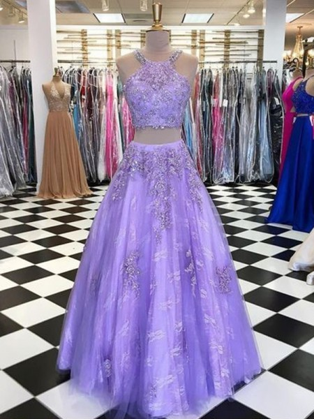 A-Line/Princess Floor-Length Halter Sleeveless Beading Tulle Dresses