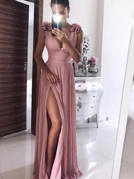 A-Line/Princess Floor-Length V-neck Sleeveless Hand-Made Flower Chiffon Dresses