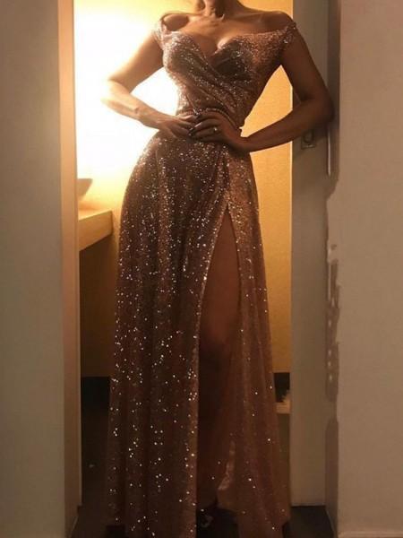 A-Line/Princess Floor-Length Off-the-Shoulder Sleeveless Ruched Sequins Dresses