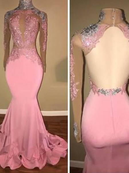 Trumpet/Mermaid Sweep/Brush Train High Neck Long Sleeves Applique Jersey Dresses