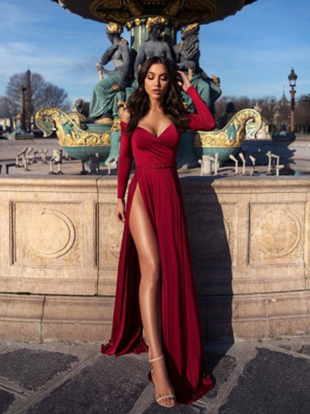 A-Line/Princess Sweep/Brush Train Off-the-Shoulder Long Sleeves Ruched Elastic Woven Satin Dresses