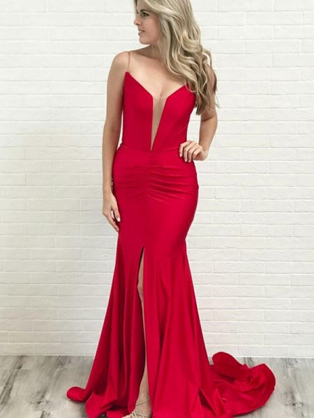 A-Line/Princess Court Train Spaghetti Straps Sleeveless Ruched Satin Dresses