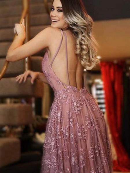 A-Line/Princess Sweep/Brush Train V-neck Sleeveless Applique Tulle Dresses
