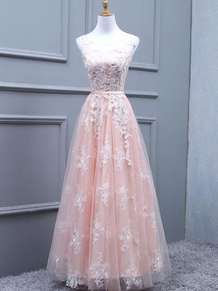 A-Line/Princess Floor-Length Scoop Sleeveless Applique Tulle Dresses