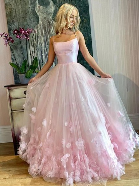 A-Line/Princess Floor-Length Bateau Sleeveless Applique Tulle Dresses