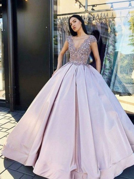 Ball Gown Floor-Length V-neck Short Sleeves Beading Satin Dresses