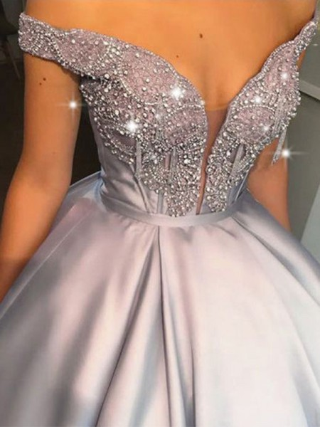 Ball Gown Floor-Length Off-the-Shoulder Sleeveless Beading Satin Dresses
