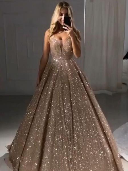 A-Line/Princess Floor-Length V-neck Sleeveless Ruffles Sequins Dresses