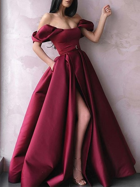 A-Line/Princess Floor-Length Off-the-Shoulder Sleeveless Sash/Ribbon/Belt Satin Dresses