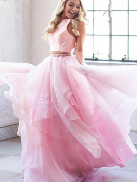 A-Line/Princess Floor-Length Scoop Sleeveless Beading Tulle Dresses