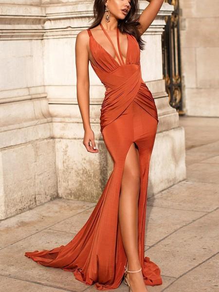 Trumpet/Mermaid Sweep/Brush Train V-neck Long Sleeves Ruched Satin Dresses