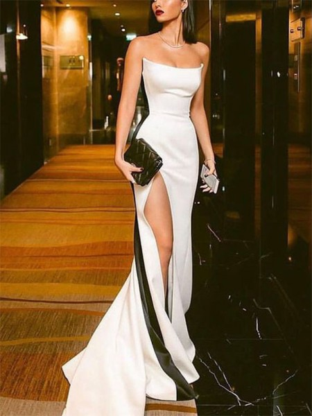 Sheath/Column Sweep/Brush Train Strapless Sleeveless Satin Dresses