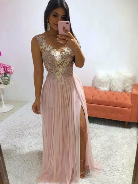 A-Line/Princess Chiffon V-neck Applique Sleeveless Sweep/Brush Train Dresses