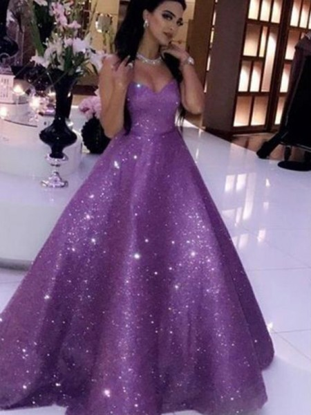 Ball Gown Sleeveless Sequins Sweetheart Ruffles Sweep/Brush Train Dresses