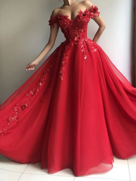 A-Line/Princess Sleeveless Chiffon Off-the-Shoulder Applique Floor-Length Dresses