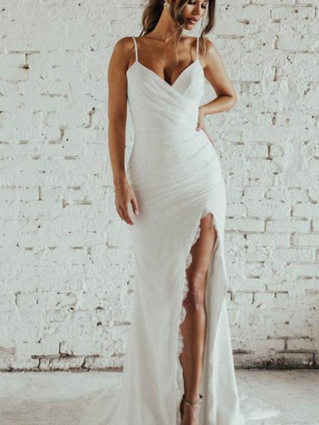 Sheath/Column Sleeveless Spaghetti Straps Ruched Chiffon Sweep/Brush Train Wedding Dresses