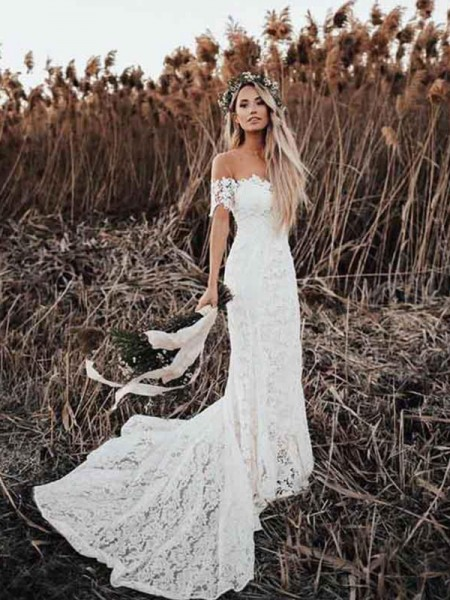 Trumpet/Mermaid Lace Short Sleeves Applique Off-the-Shoulder Court Train Wedding Dresses