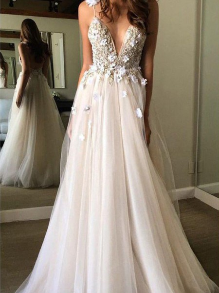 A-Line/Princess V-neck Tulle Beading Sleeveless Floor-Length Wedding Dresses