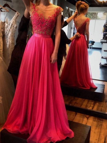 A-Line/Princess Floor-Length Chiffon Sleeveless Scoop Applique Dresses