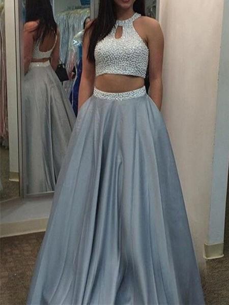 A-Line/Princess Halter Satin Floor-Length Two Piece Dress