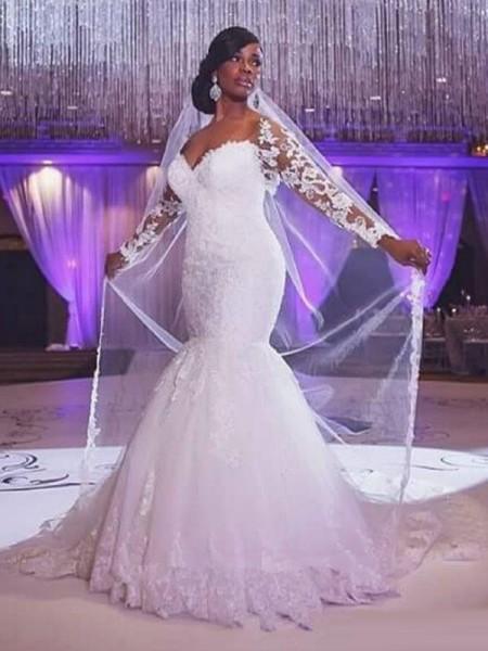 Trumpet/Mermaid Sweep/Brush Train Tulle Long Sleeves Sweetheart Applique Wedding Dresses
