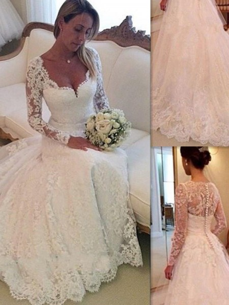 Ball Gown Court Train Tulle Sleeveless V-neck Lace Wedding Dresses