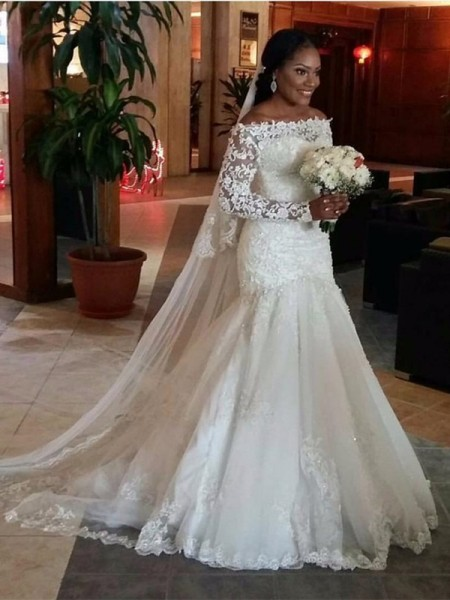 Trumpet/Mermaid Sweep/Brush Train Tulle Long Sleeves Off-the-Shoulder Lace Wedding Dresses