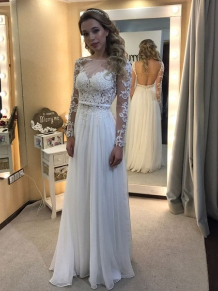 A-Line/Princess Floor-Length Chiffon Long Sleeves Bateau Lace Wedding Dresses