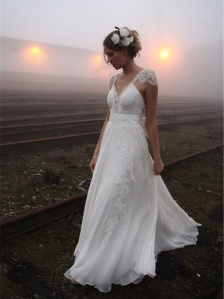 A-Line/Princess Sweep/Brush Train Chiffon Sleeveless V-neck Lace Wedding Dresses