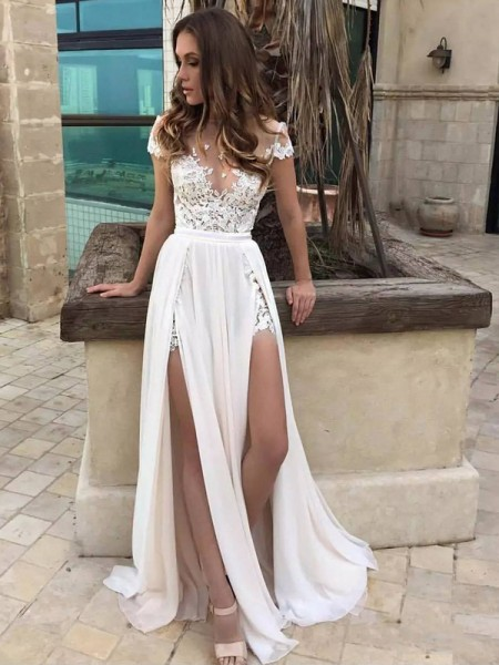 A-Line/Princess Floor-Length Chiffon Sleeveless V-neck Lace Wedding Dresses