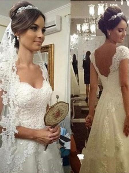 A-Line/Princess Floor-Length Tulle Sleeveless Sweetheart Lace Wedding Dresses