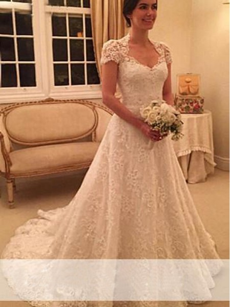 A-Line/Princess Court Train Lace Short Sleeves Sweetheart Lace Wedding Dresses