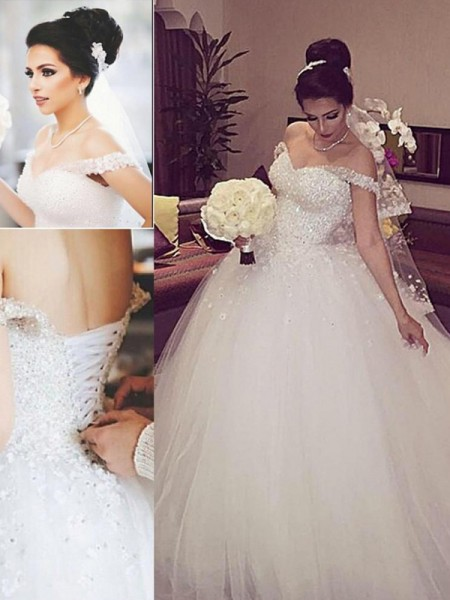 Ball Gown Court Train Tulle Sleeveless Off-the-Shoulder Lace Wedding Dresses
