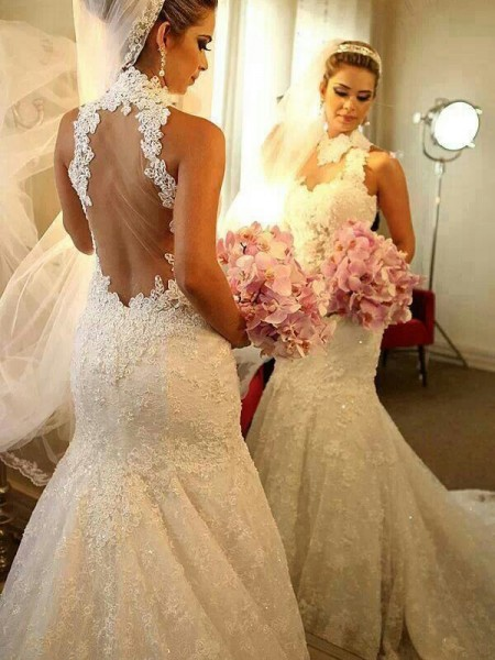 Trumpet/Mermaid Court Train Lace Sleeveless High Neck Lace Wedding Dresses