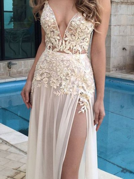 A-Line/Princess Floor-Length Chiffon Sleeveless V-Neck Applique Dresses