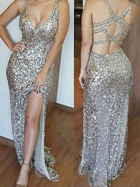Sheath/Column Sweep/Brush Train Sequins Sleeveless V-neck Dresses
