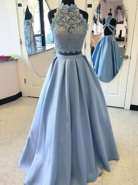 Ball Gown Floor-Length Satin Sleeveless High Neck Applique Dresses
