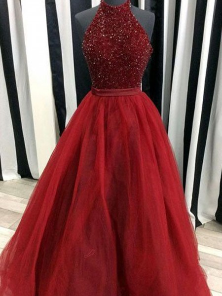 Ball Gown Floor-Length Organza Sleeveless High Neck Beading Dresses