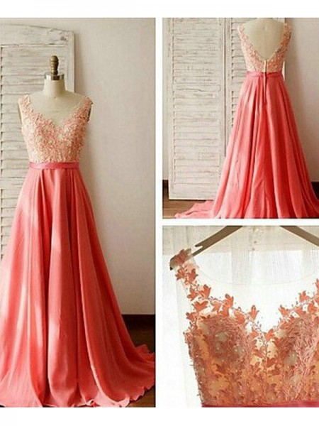 A-Line/Princess Sweep/Brush Train Chiffon Sleeveless Sweetheart Lace Bridesmaid Dresses